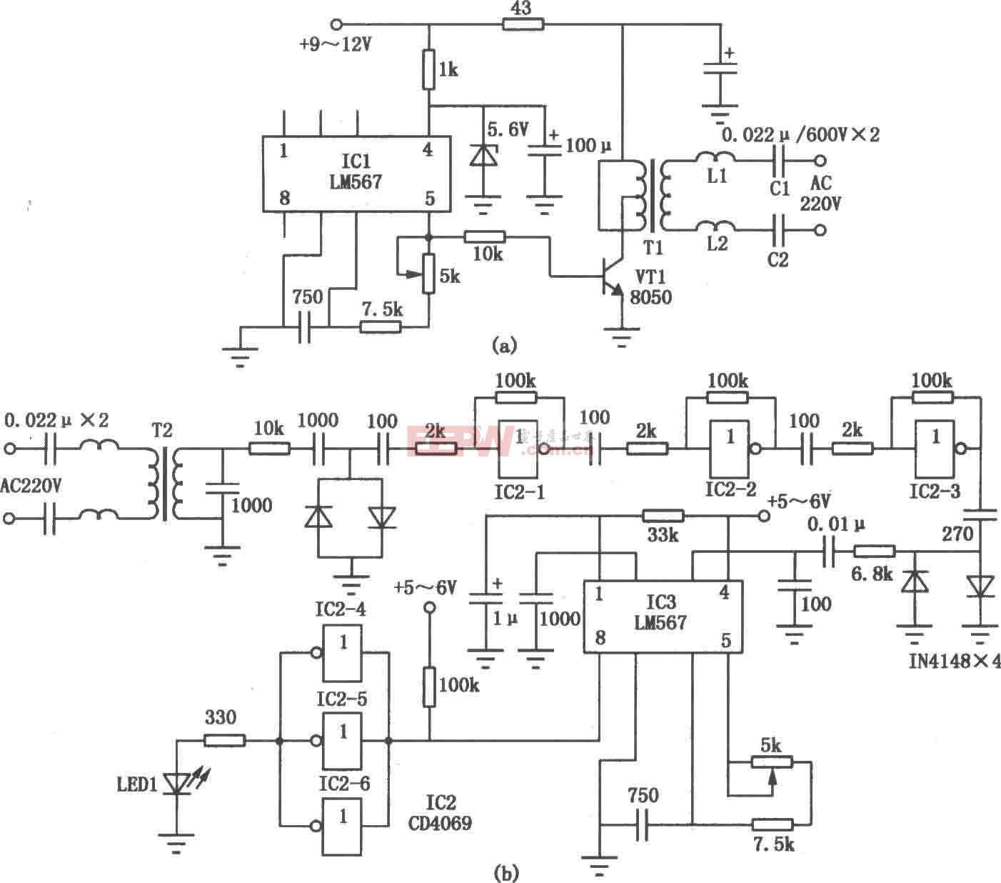 用电力线通讯的收发电路图