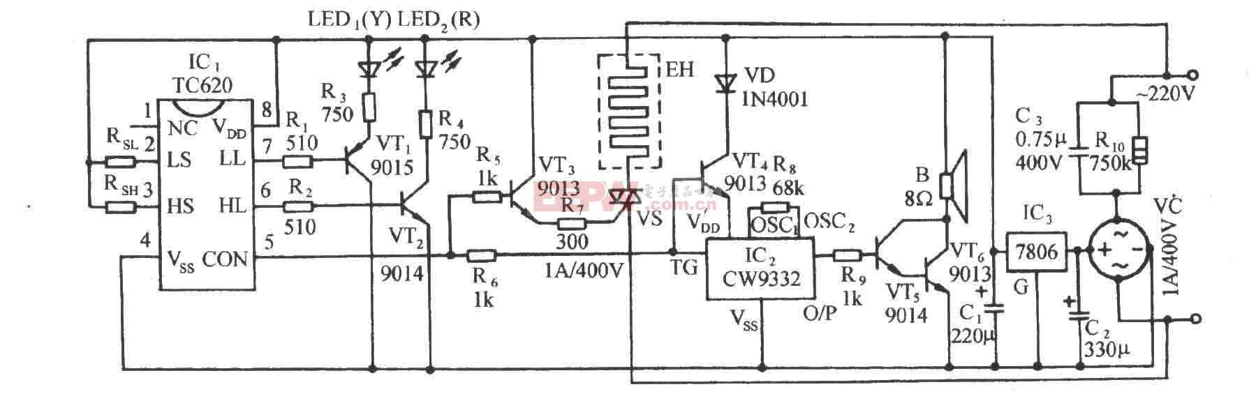 TC620温度传感自动加热恒温控制电路图