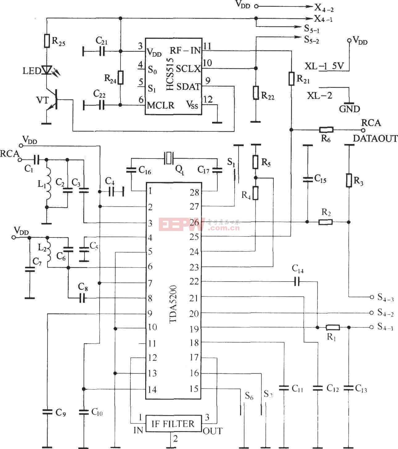 外差式遥控接收电路图(TDA5200)