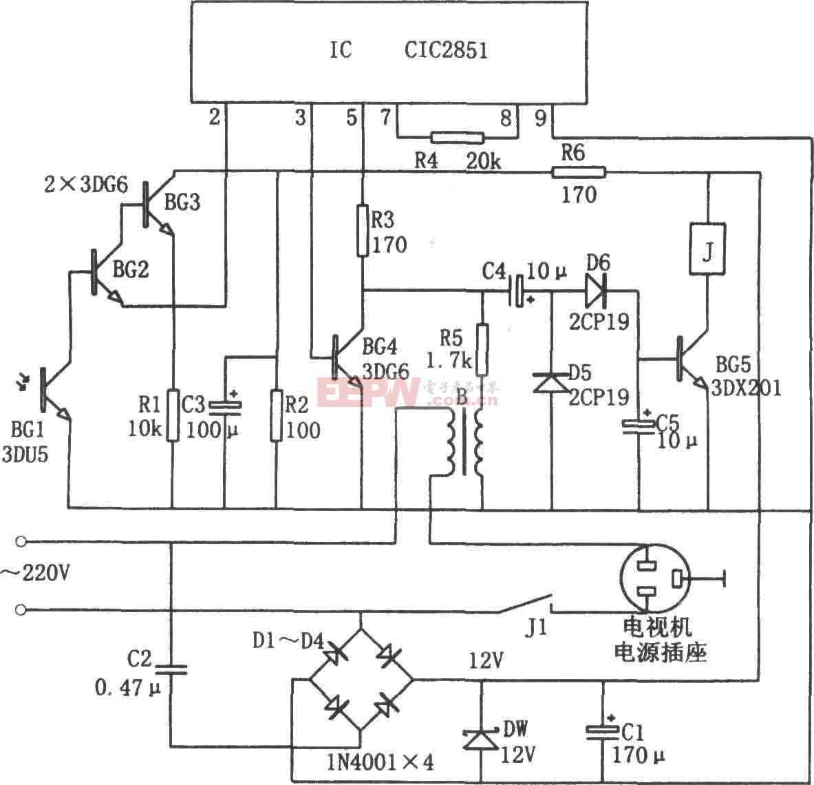 电视机节电遥控关机电路