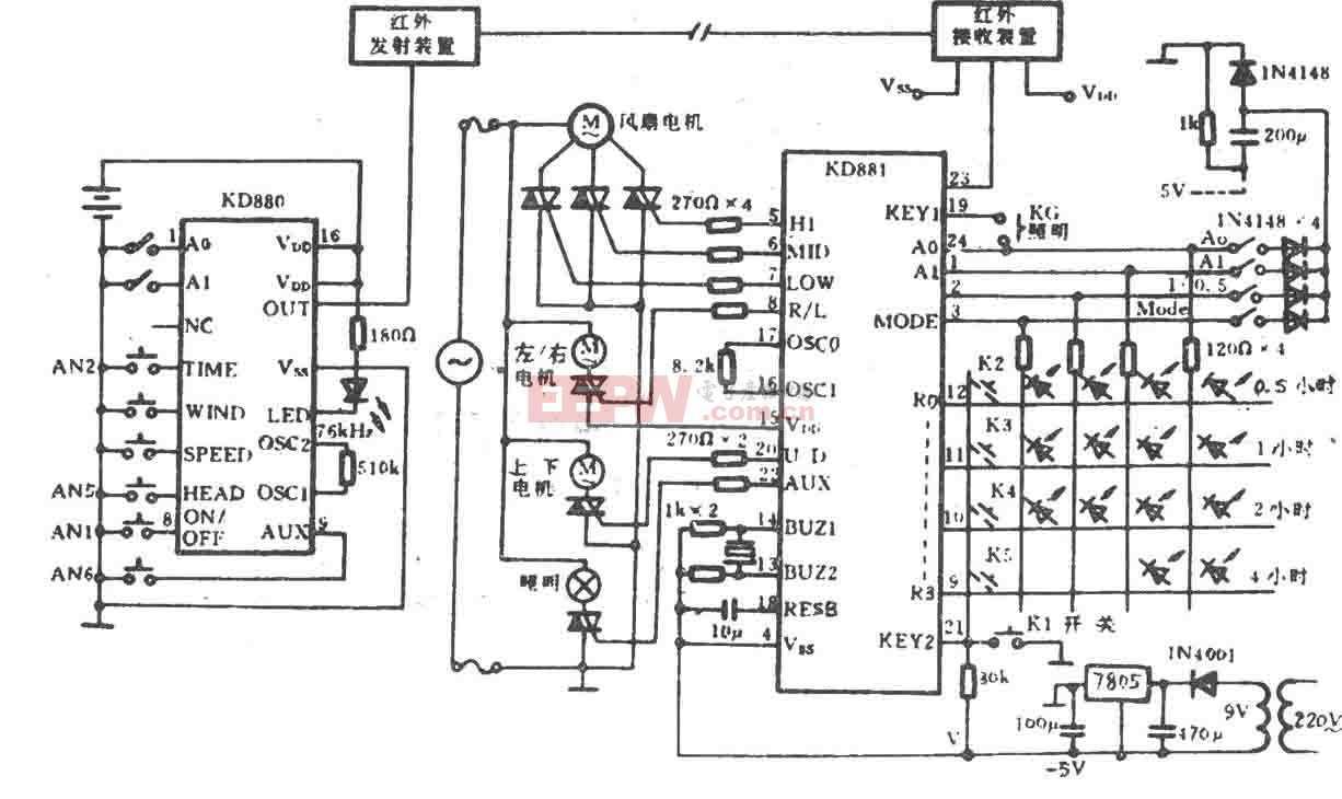 电风扇红外遥控电路(KD880/881)