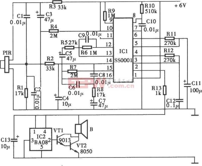 防触电告警器电路图