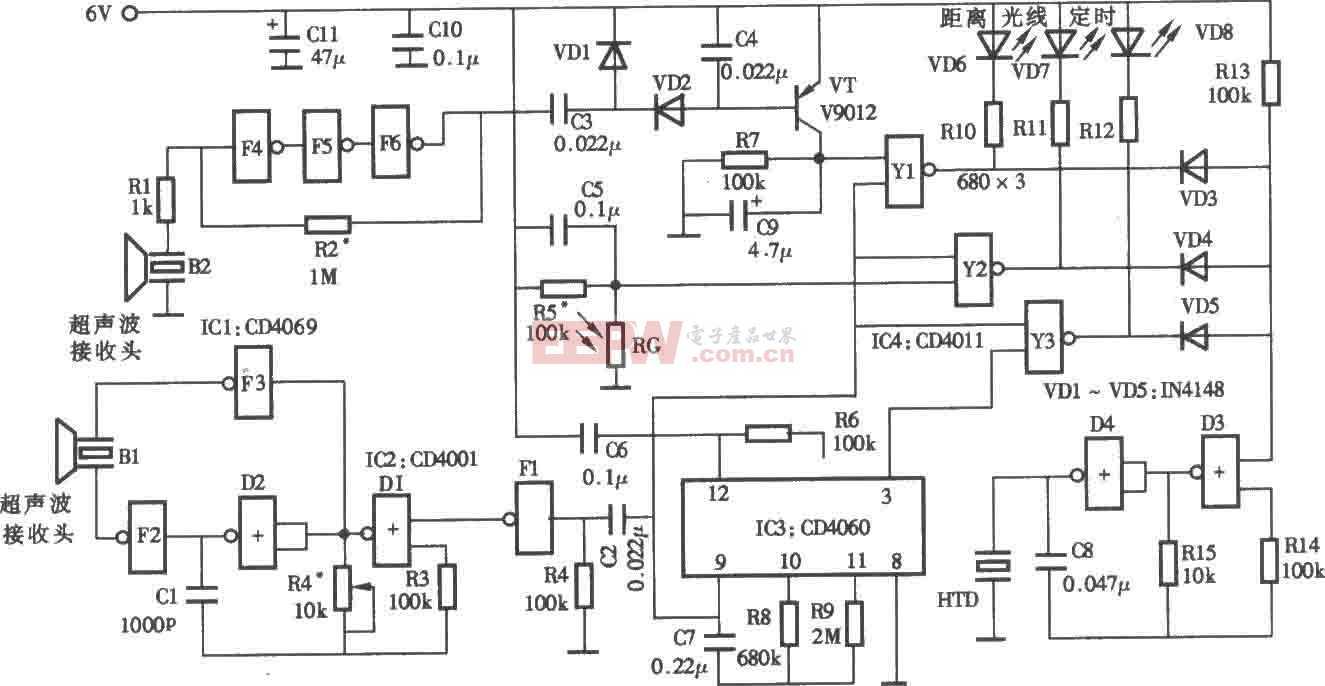 超声波视力保护器电路图