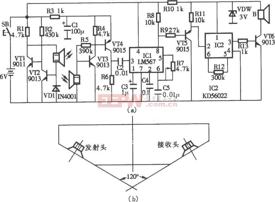 超声波盲人探路器电路图