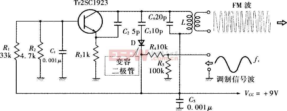 变容二极管构成的直接FM调制电路图