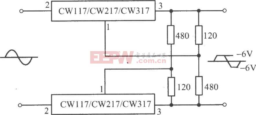 CW117/CW217/CW317构成的交流峰值削波电路图