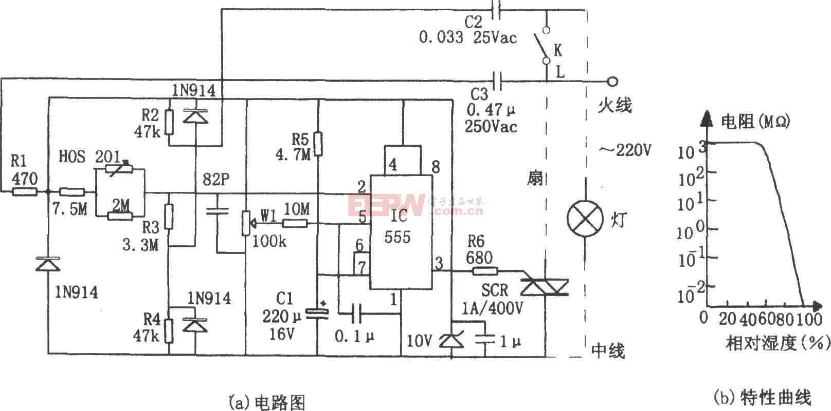 555构成的室内湿度控制电路图