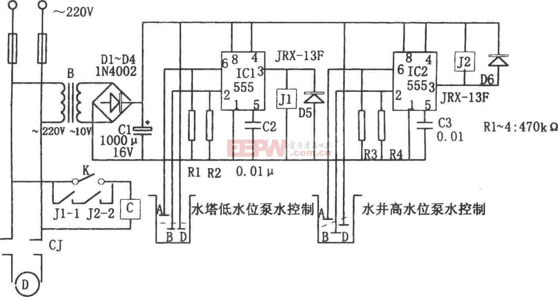 555构成的水位控制电路图