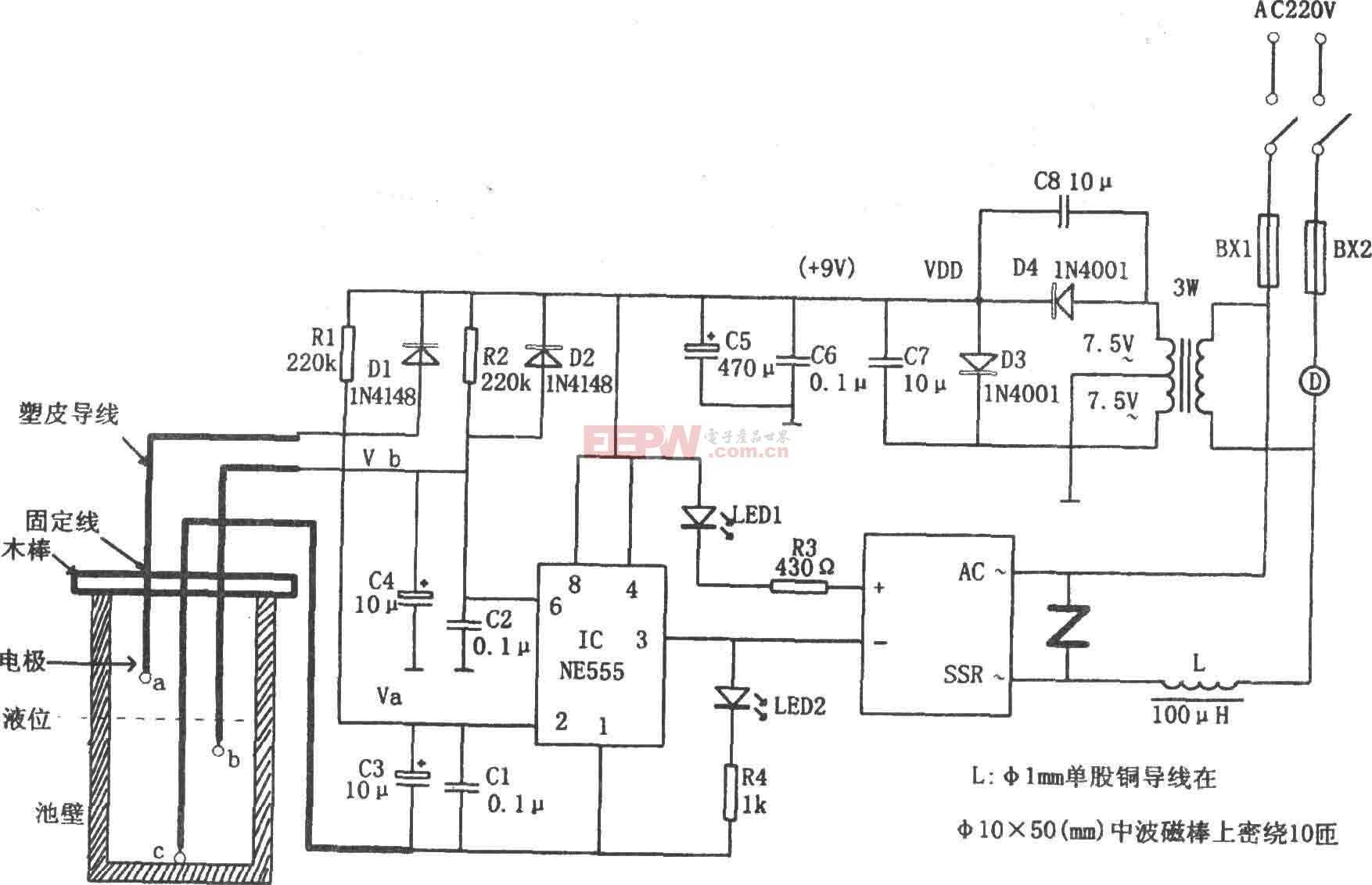NE555构成的农用液位自动控制电路图