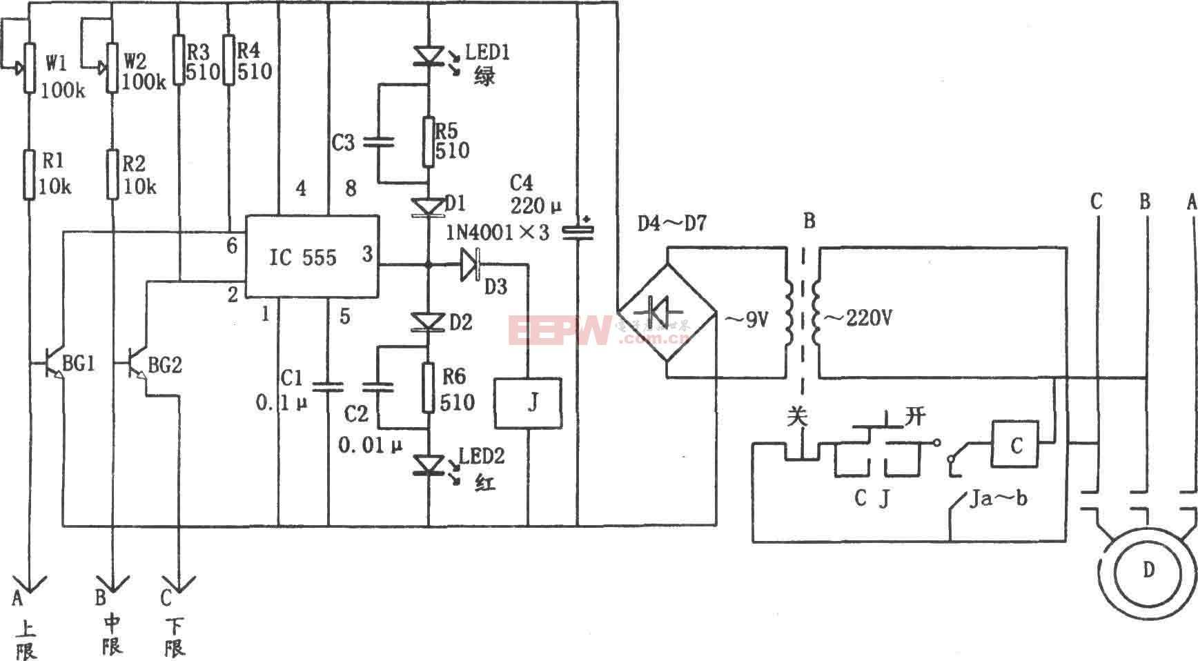 555构成的水位自动控制电路图