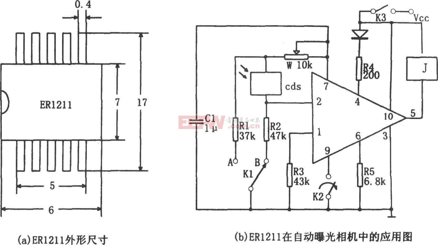 用ER1211专用集成电路作自动曝光控制器电路图