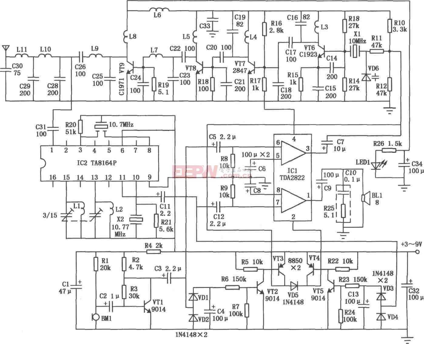 声控双工无线对讲机电路图