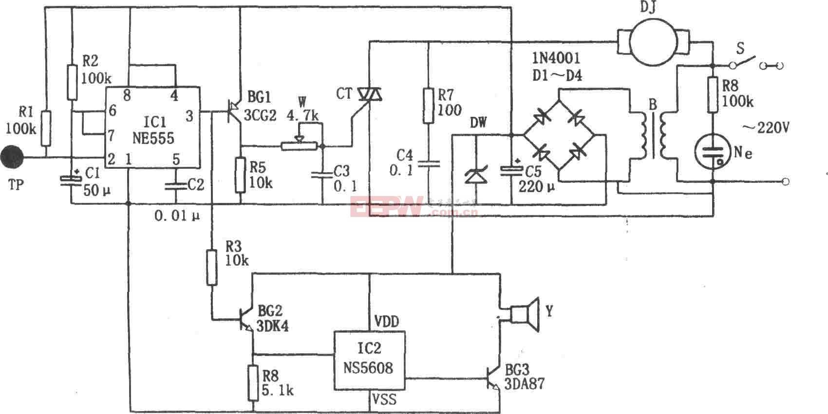电风扇指触保护及报警电路图(NE555、NS5608)