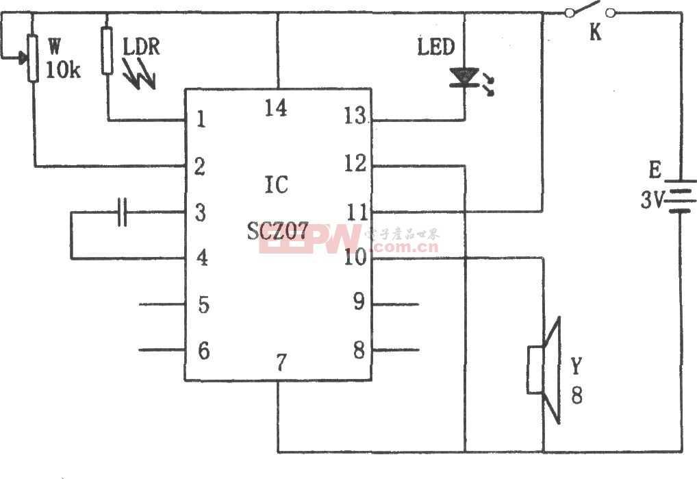 SCZ07构成的光弱报警器电路图