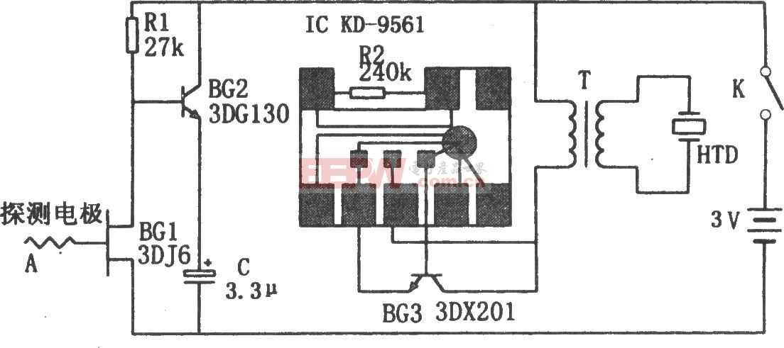 感应高压报警器电路图(KD9561)