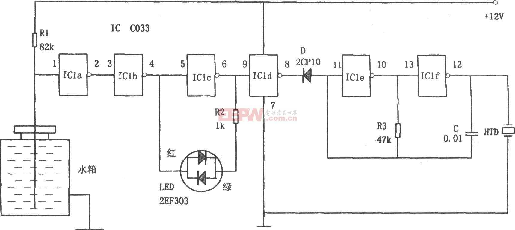 C033构成的汽车水箱水位报警器电路图