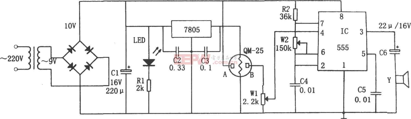 简易气体烟雾报警器电路图(555、7805)