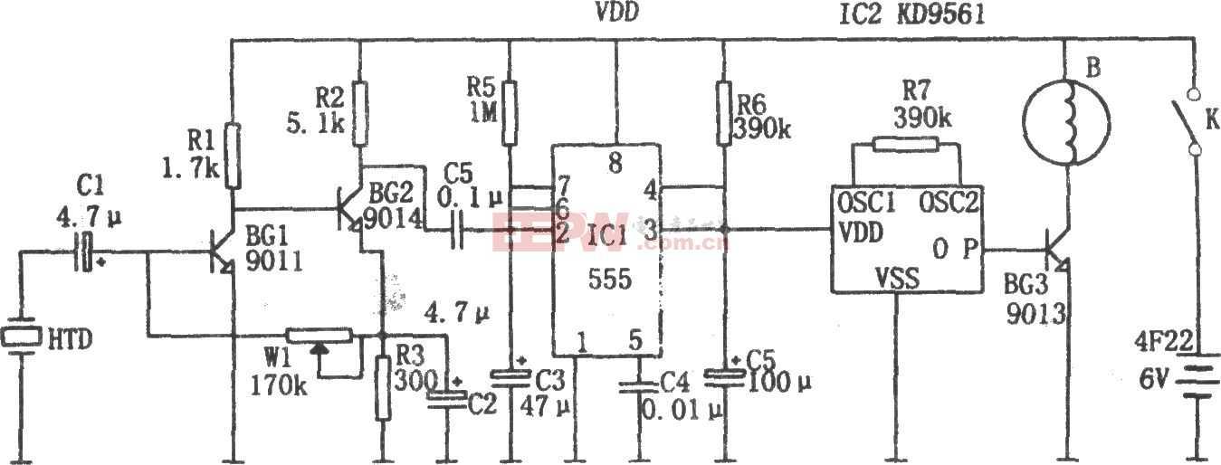 555构成的机电一体化自行车防盗报警锁电路图