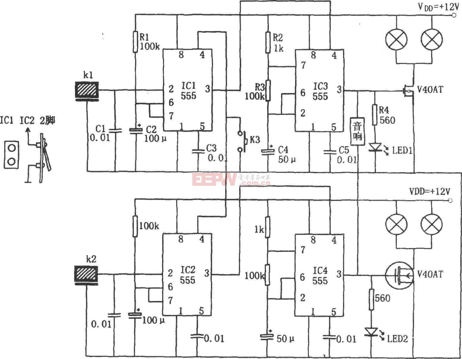 555构成的汽车转向指示灯电路图