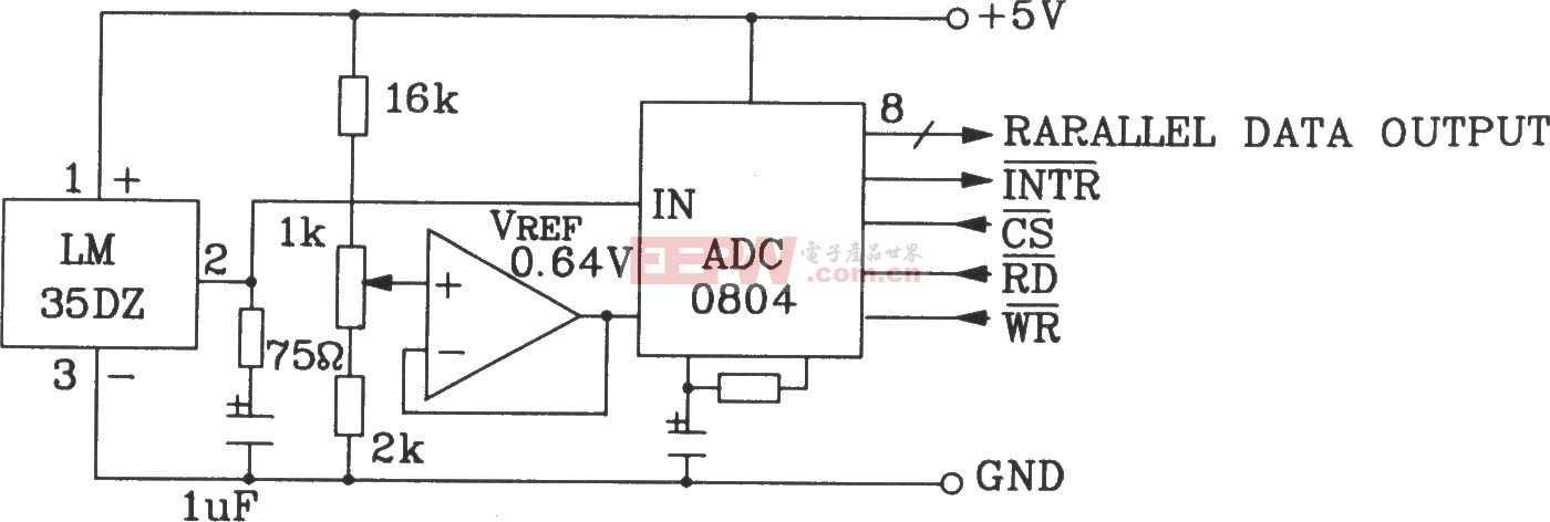 LM35DZ摄氏温度传感器构成温度量A/D转换为并行三态输出标准微机接口数据总线电路图