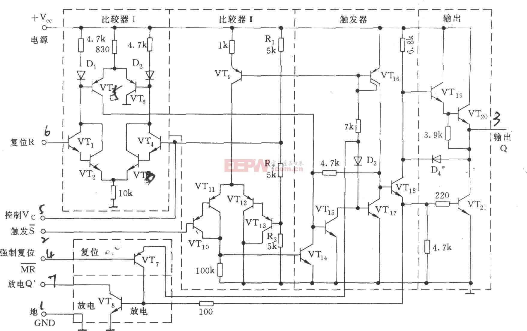 上海元件五厂生产的5G1555等效电路图