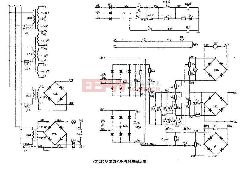 y31200型滚齿机电气原理图