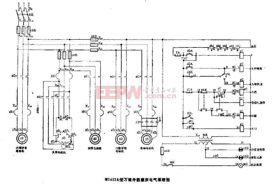 M1432A型万能外圆磨床电气原理图