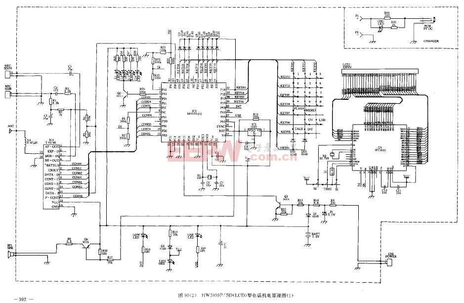 HW3999P/SD(LCD)型电话机原理图