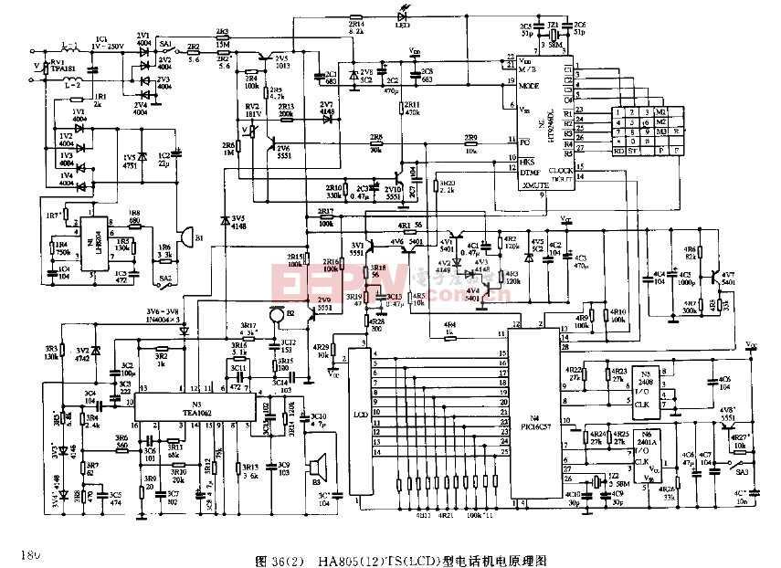 HA805(12)TS(LCD)型电话机原理图