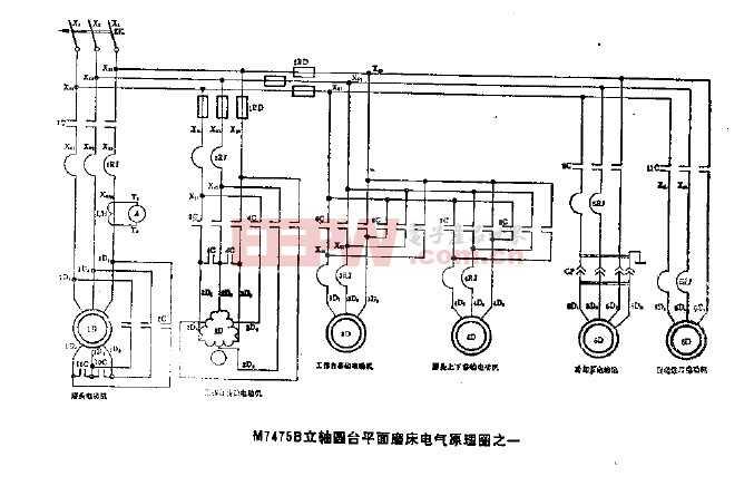 m7475b立轴圆台平面磨床电气原理图