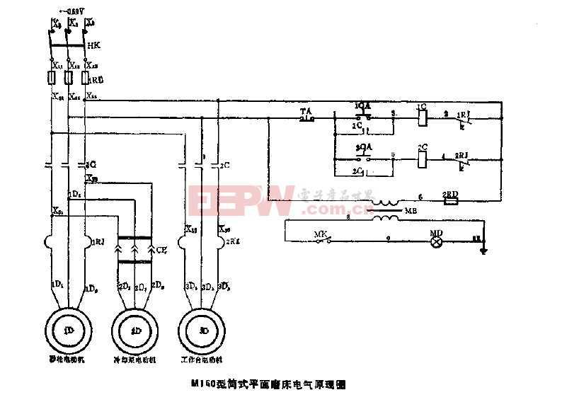 M160型筒式平面磨床电气原理图