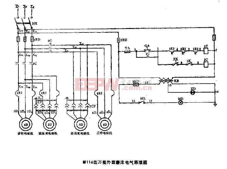 m114型万能外圆磨床电气原理图