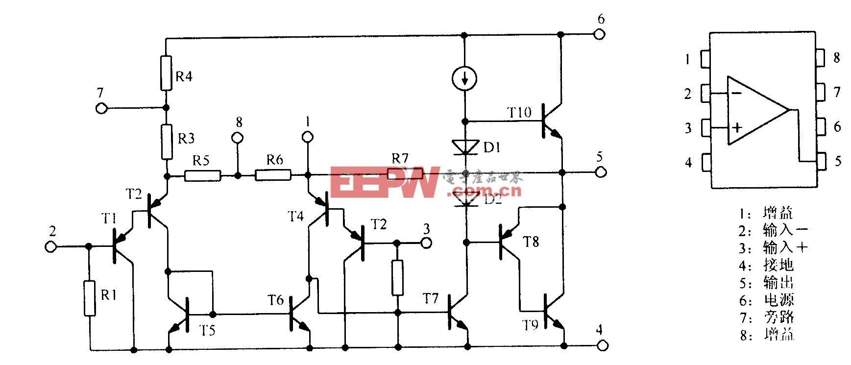 通用功率放大电路LM386等效电路及封装形式