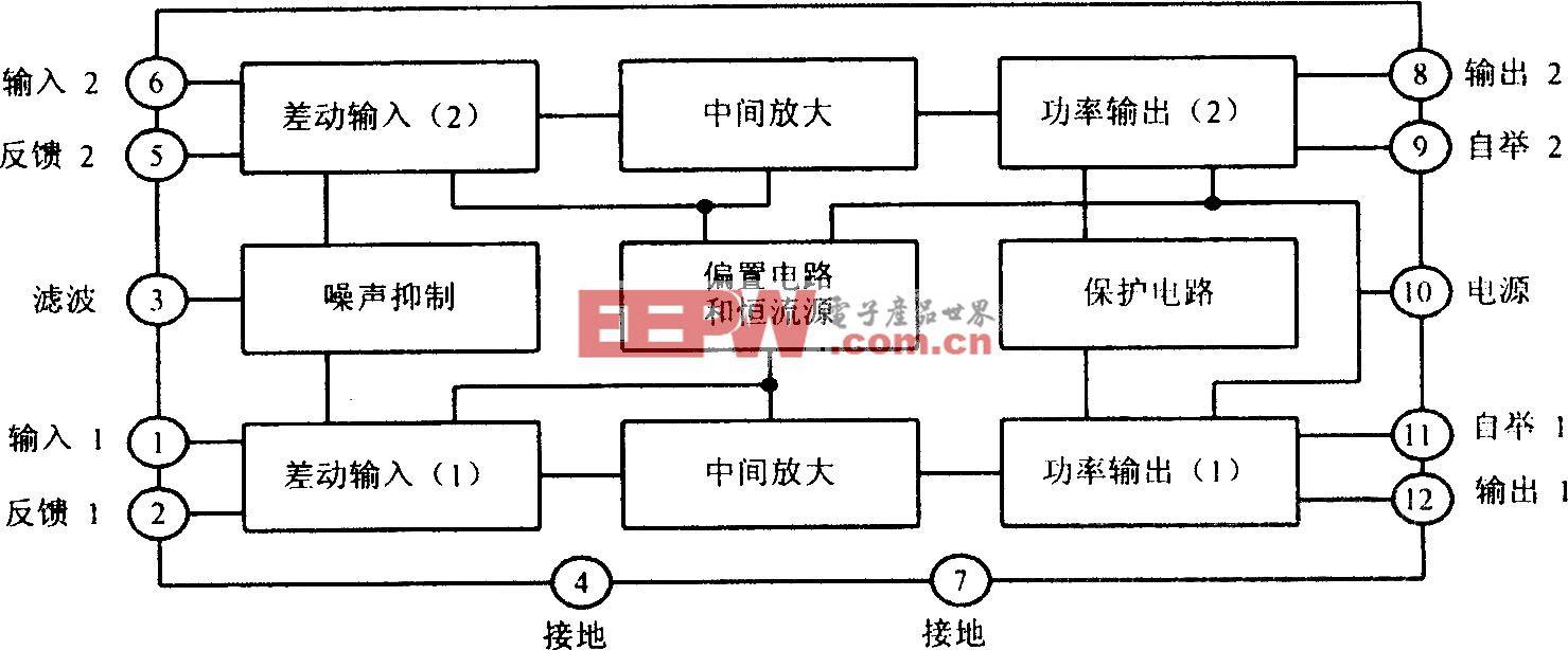 TA7240AP内部电路方框图及其主要参数