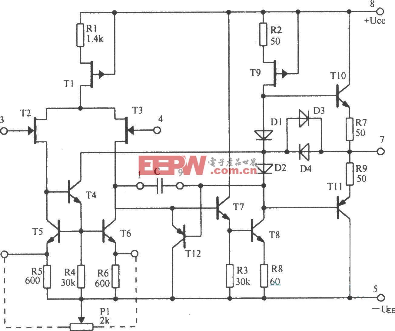 5G28集成运放的内部电路图