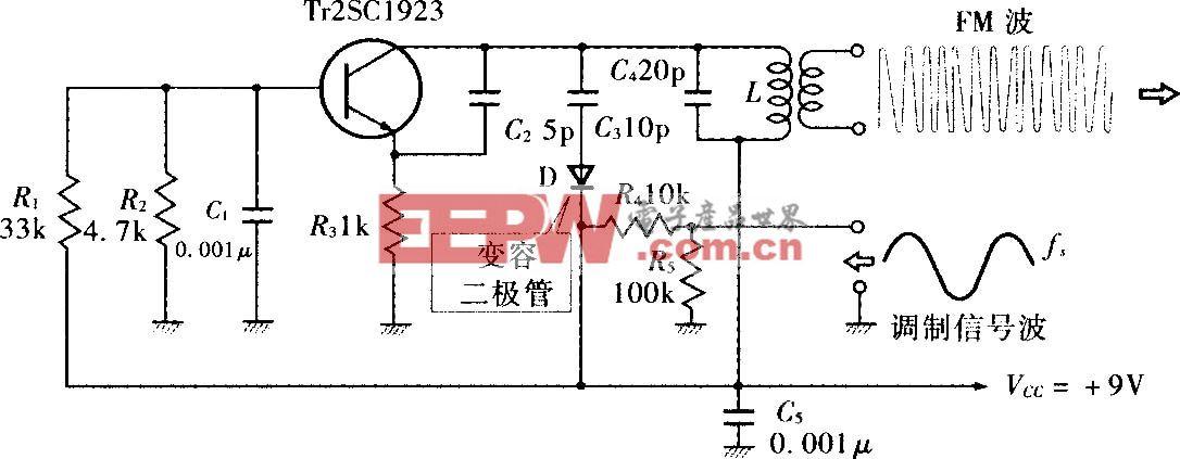 由变容二极管构成的直接FM调制电路