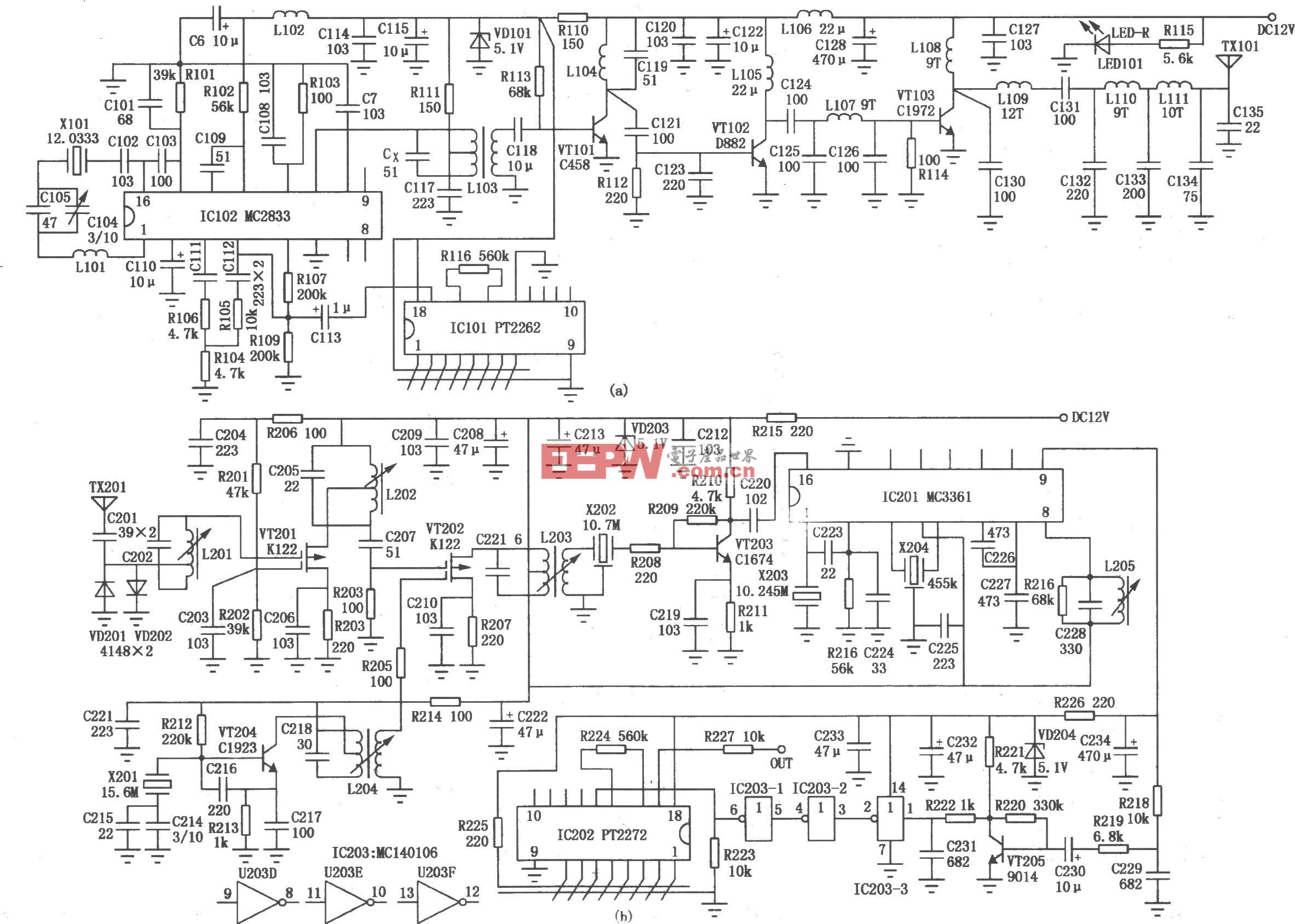 远距离编、解码发射/接收电路(MC145026、PT2262)