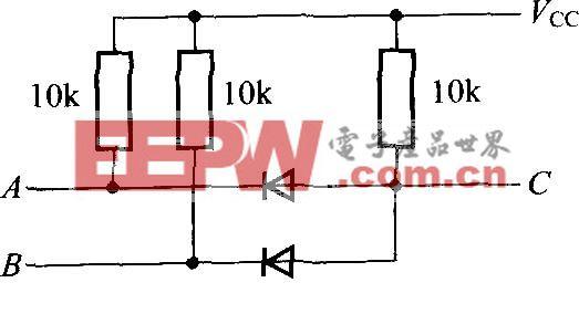 用二极管和电阻构成的AND电路C=A・B