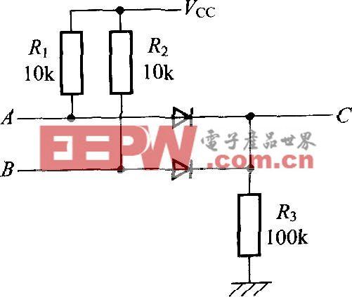 用二极管和电阻构成的OR电路C=A B