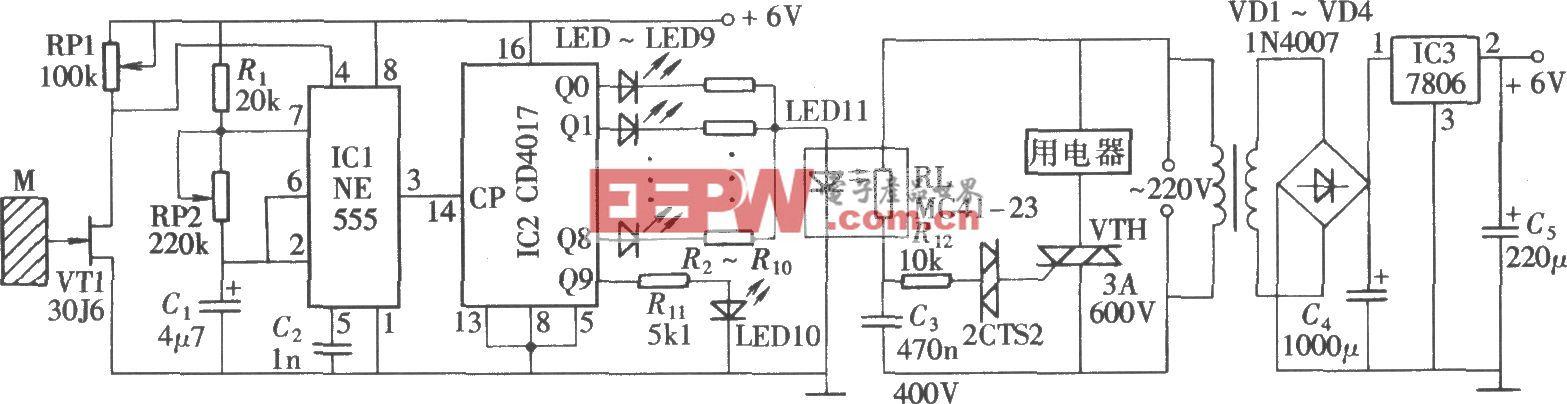 由NE555、CD4017组成的触摸式电压调节器