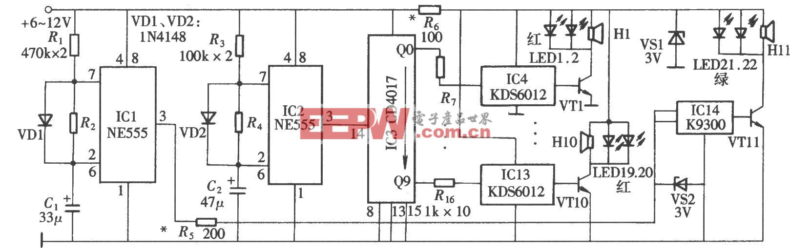电子百鸟朝凤(NE555、CD4017)