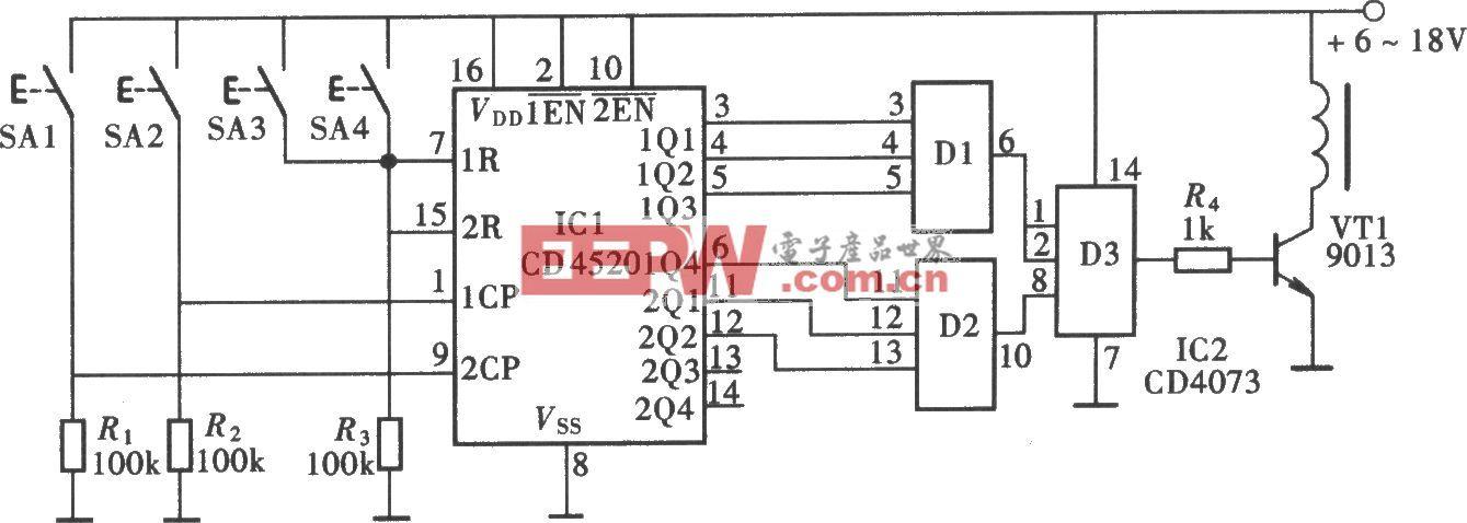 由CD4520组成的数字式密码锁电路