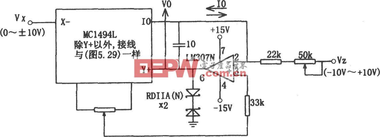 由MC1494和LM307构成的除法电路