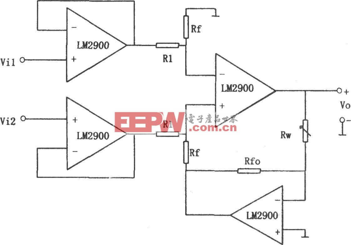LM2900构成的增益可线性调节的减法电路