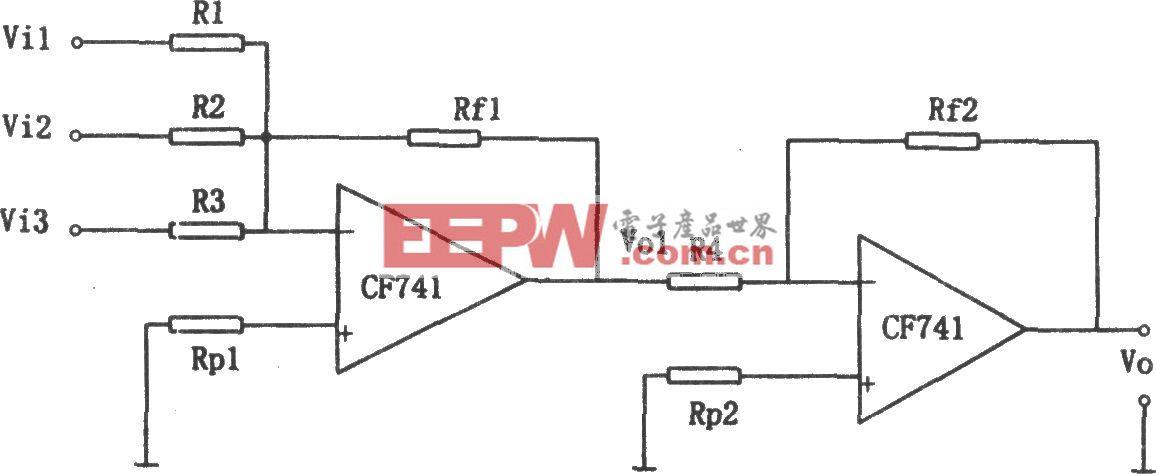 CF741构成的输入输出同相加法电路