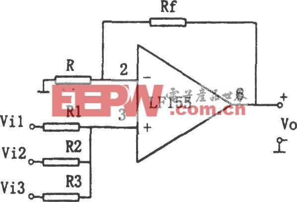 LF155构成的同相加法电路
