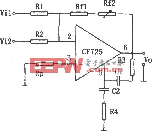 CF725构成的增益可调加法电路