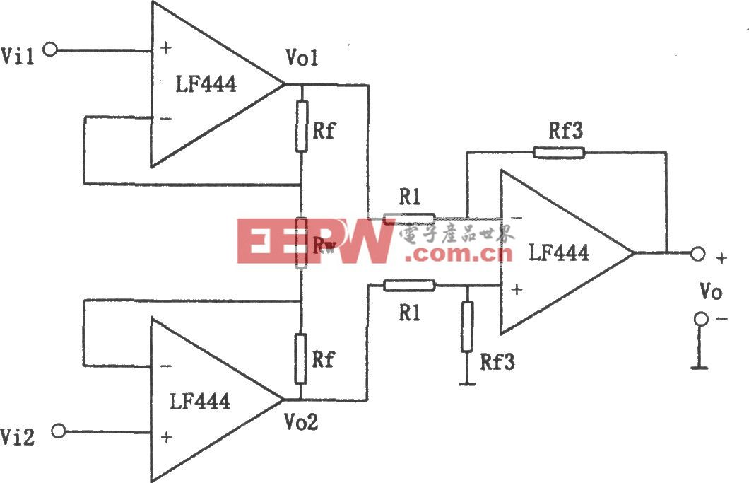 LF444构成的改进型同相并联减法电路
