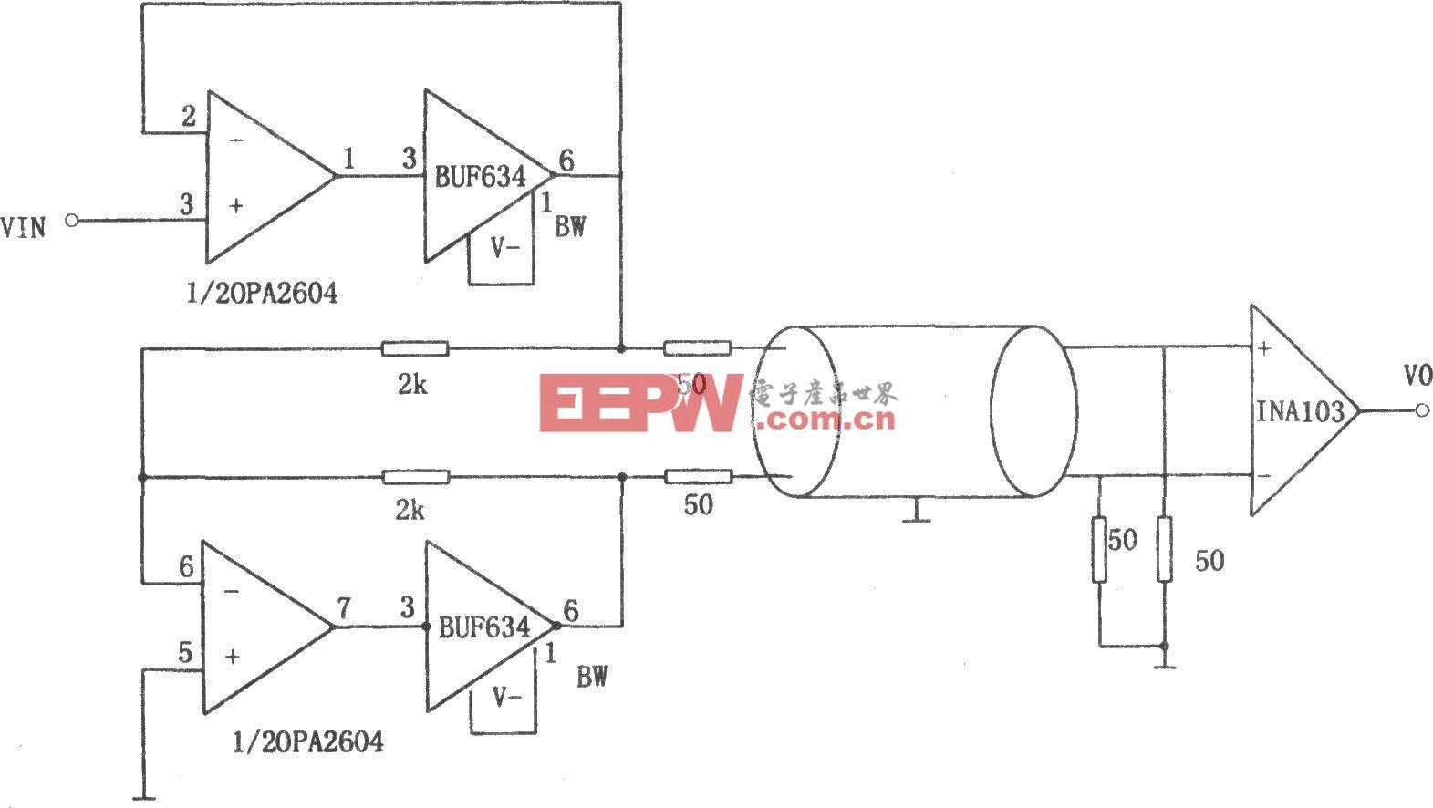 单端输入变为差动输入馈线驱动器(OPA2604、BUF634)