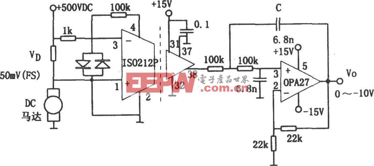 高压隔离电流检测电路(ISO212、OPA27)